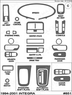 1995 Acura Integra Dash Kit Shadow Sheet