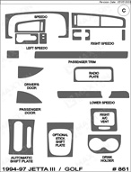 1997 Volkswagen Golf Dash Kit Shadow Sheet