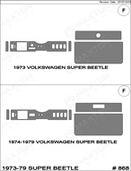 1973 Volkswagen Beetle Dash Kit Shadow Sheet