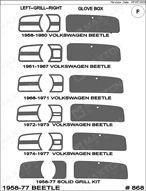 1966 Volkswagen Beetle Dash Kit Shadow Sheet