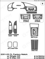 2002 Acura CL Dash Kit Shadow Sheet