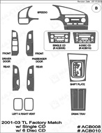 2001 Acura TL Dash Kit Shadow Sheet