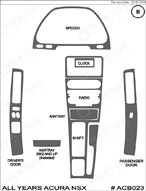 1993 Acura NSX Dash Kit Shadow Sheet