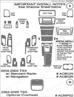2006 Acura TSX Dash Kit Shadow Sheet