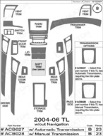 2007 Acura TL Dash Kit Shadow Sheet
