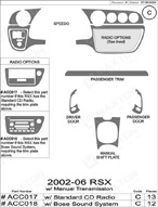 2003 Acura RSX Dash Kit Shadow Sheet