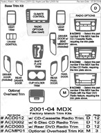 2004 Acura MDX Dash Kit Shadow Sheet