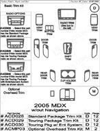 2005 Acura MDX Dash Kit Shadow Sheet