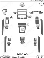 2006 Audi A3 Dash Kit Shadow Sheet