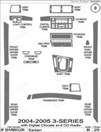 2005 BMW 3-Series Dash Kit Shadow Sheet
