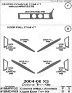 2005 BMW X3 Dash Kit Shadow Sheet