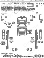 2004 Cadillac SRX Dash Kit Shadow Sheet