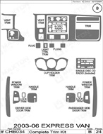 2005 Chevrolet Express Van Dash Kit Shadow Sheet
