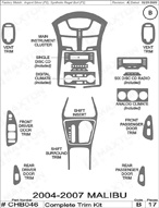 2007 Chevrolet Malibu Dash Kit Shadow Sheet