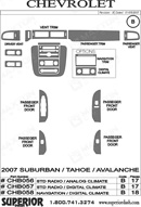 2007 Chevrolet Suburban Dash Kit Shadow Sheet