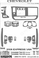 2008 Chevrolet Express Van Dash Kit Shadow Sheet