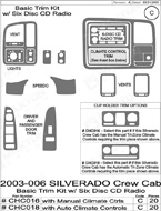 2003 Chevrolet Silverado Dash Kit Shadow Sheet