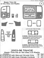 2004 Chevrolet Tahoe Dash Kit Shadow Sheet
