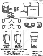 1998 Chevrolet Blazer Dash Kit Shadow Sheet
