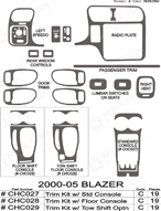 2003 Chevrolet Blazer Dash Kit Shadow Sheet