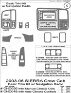 2005 GMC Sierra Dash Kit Shadow Sheet