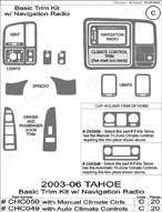 2006 Chevrolet Tahoe Dash Kit Shadow Sheet