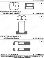 2003 Chevrolet Suburban Dash Kit Shadow Sheet