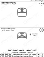 2006 Chevrolet Avalanche Dash Kit Shadow Sheet