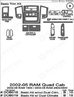 2005 Dodge Ram Dash Kit Shadow Sheet