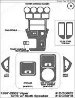1997 Dodge Viper Dash Kit Shadow Sheet