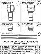 2004 Dodge Dakota Dash Kit Shadow Sheet