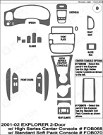 2001 Ford Explorer Dash Kit Shadow Sheet