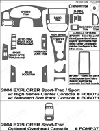 2005 Ford Explorer Dash Kit Shadow Sheet