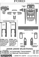 2009 Ford Mustang Dash Kit Shadow Sheet