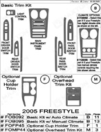 2006 Ford Freestyle Dash Kit Shadow Sheet