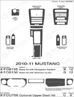 2010 Ford Mustang Dash Kit Shadow Sheet