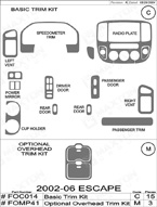 2002 Ford Escape Dash Kit Shadow Sheet