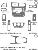 2004 Mercury Sable Dash Kit Shadow Sheet