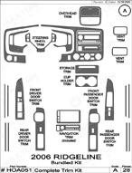 2008 Honda Ridgeline Dash Kit Shadow Sheet