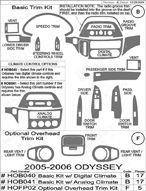 2010 Honda Odyssey Dash Kit Shadow Sheet