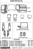 2008 Honda Civic Dash Kit Shadow Sheet