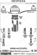 2010 Honda Accord Dash Kit Shadow Sheet