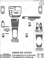 2005 Honda Civic Dash Kit Shadow Sheet