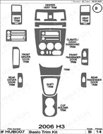 2006 Hummer H3 Dash Kit Shadow Sheet