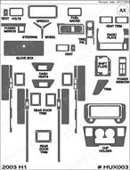 2003 Hummer H1 Dash Kit Shadow Sheet