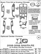 2006 Hyundai Santa Fe Dash Kit Shadow Sheet