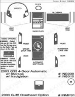 2003 Infiniti G35 Dash Kit Shadow Sheet