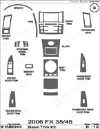 2008 Infiniti FX 35 / 45 Dash Kit Shadow Sheet