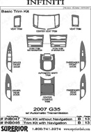 2007 Infiniti G35 Dash Kit Shadow Sheet