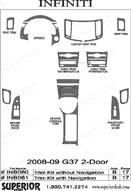 2008 Infiniti G37 Dash Kit Shadow Sheet